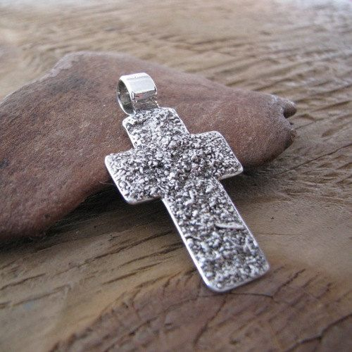 Artisan Fine Silver Pendant Textured Rugged Cross by SilverWishes, $78.00