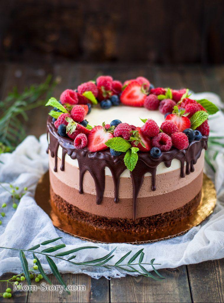 Торт три шоколада   Рецепт   Торт, Советы по украшению ...