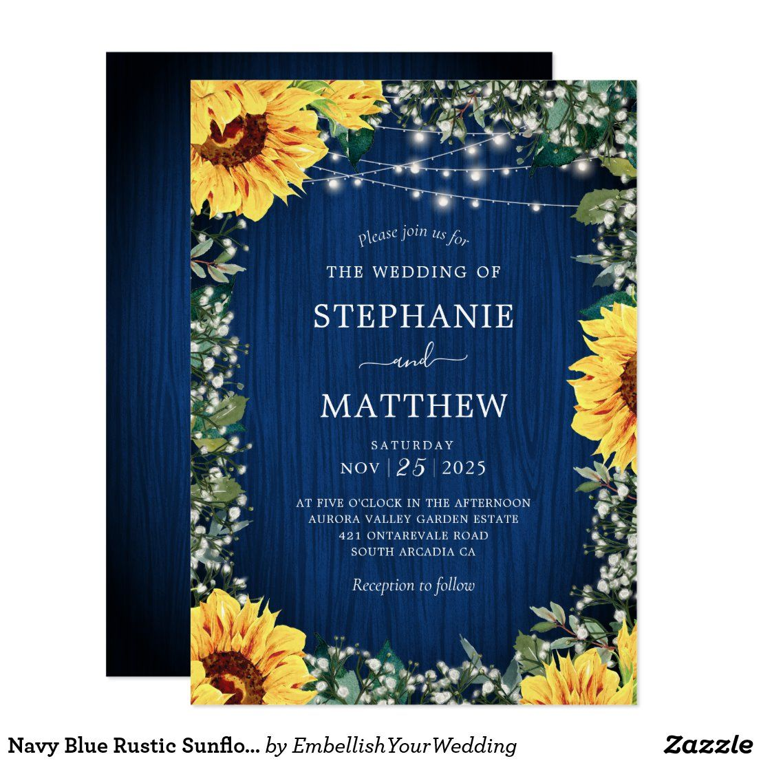Navy Blue Sunflower Lights Rustic Wedding Invitation
