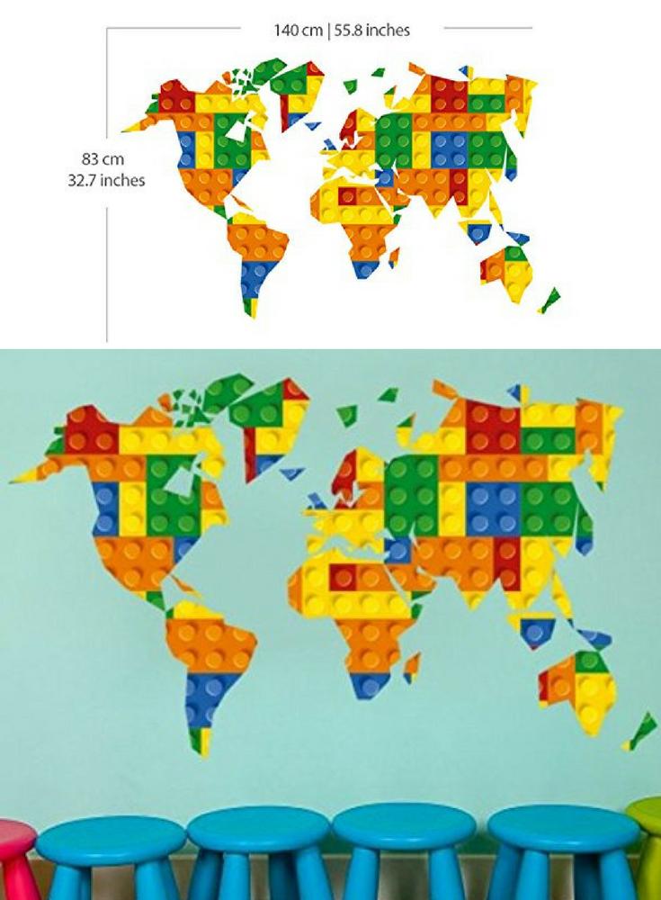 Wandtattoo weltkarte im lego design legosteine f r die for Wandtattoo weltkarte kinderzimmer
