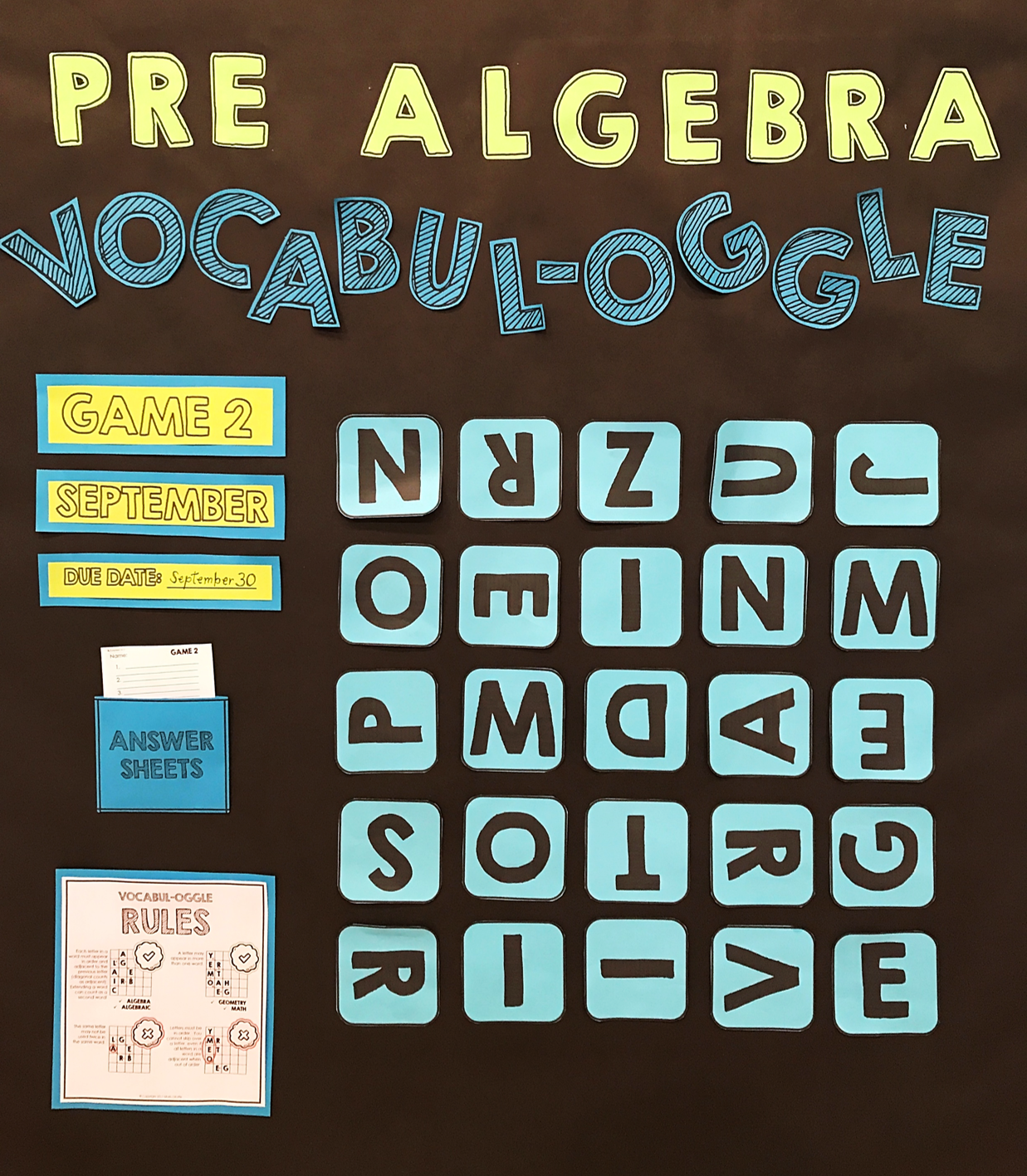 Algebra 1 Vocabulary Game with Bulletin Board Option Included ...