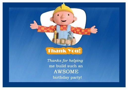 Bob The Builder Birthday Printable Birthday Thank You Cards Birthday Printables Thank You Cards
