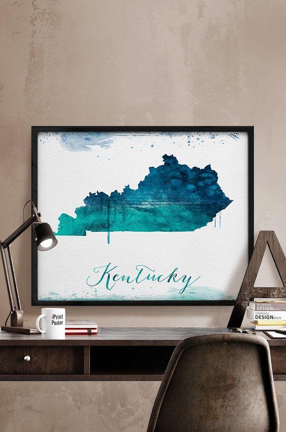 Kentucky state map print Kentucky state watercolor