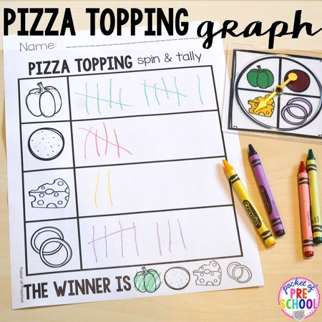 Tally graph with a Pizza theme for Preschool, Pre-K, and ...
