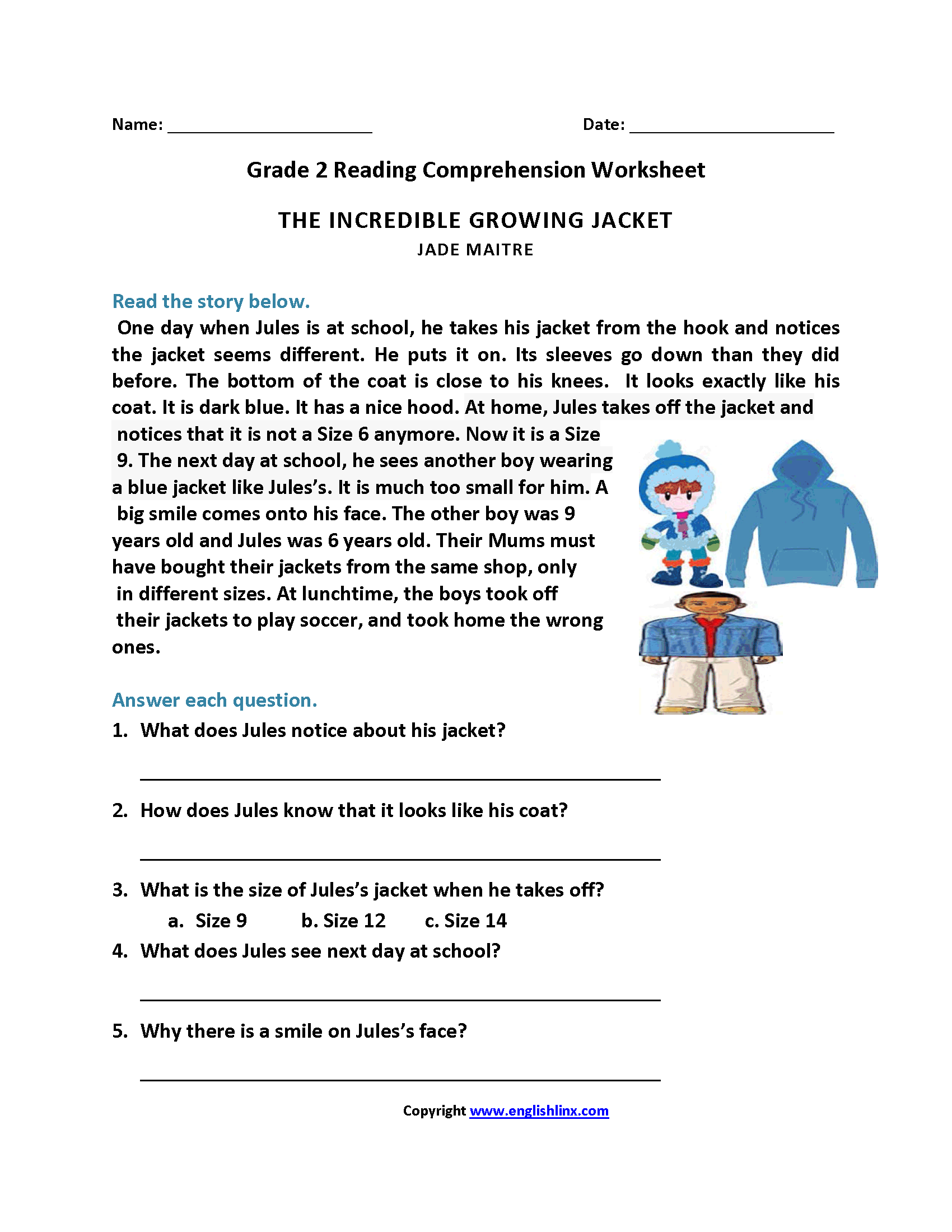 Incredible Growing Jacket Second Grade Reading Worksheets