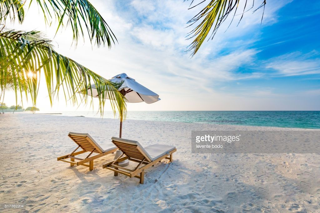 stock photo amazing beach sunset beach scene with relaxing mood
