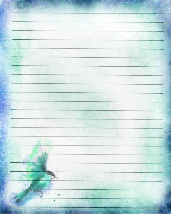 Printable Journal Page Blue Songbird Lined by JournalExpress - free lined stationery