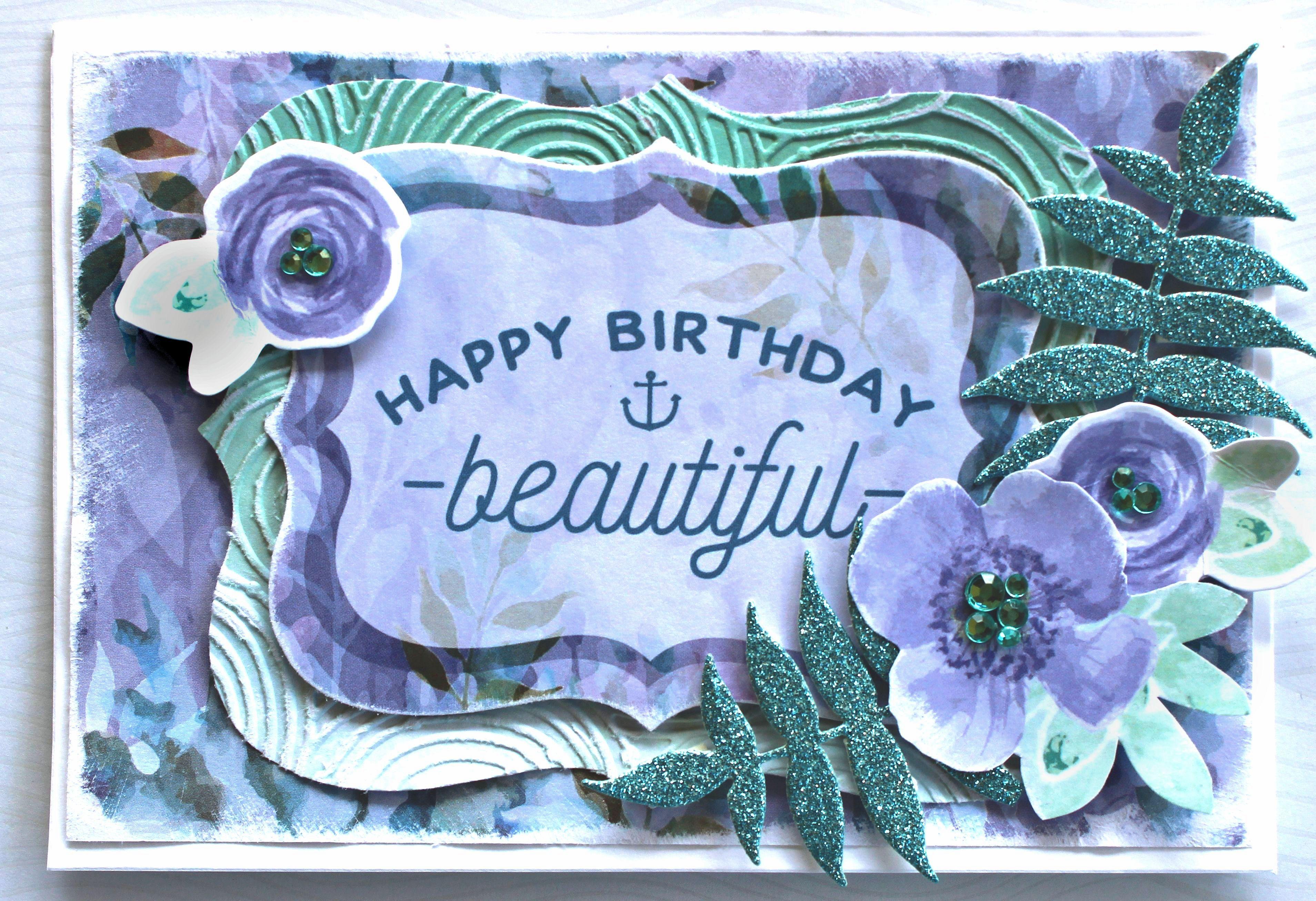 Kaisercraft Mermaid Tails & Glitter Cardstock - Birthday Card