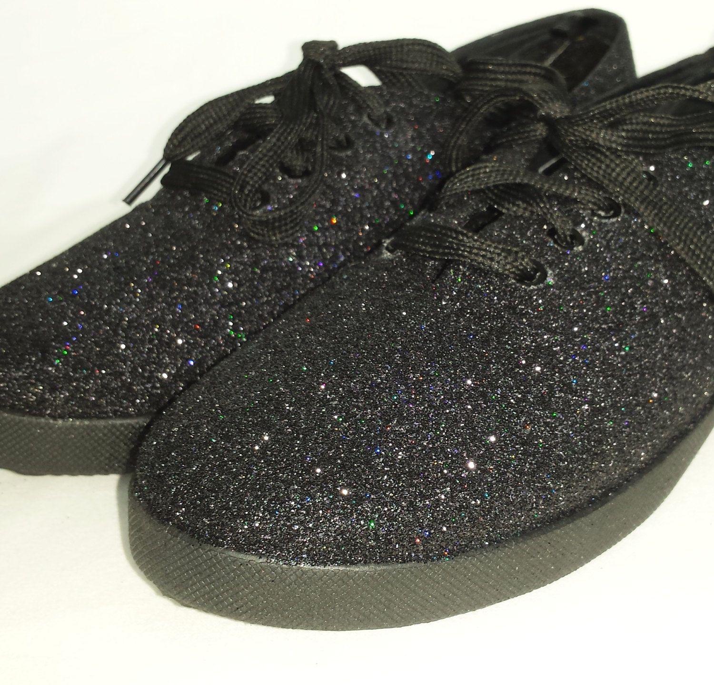 aef0e46a39a8 Black glitter shoes. Custom glitter bling pumps, glitter gothic pumps,  plimsolls, flats, rockabilly, boho, hippy women shoes pumps steampunk by  RockYourSole ...