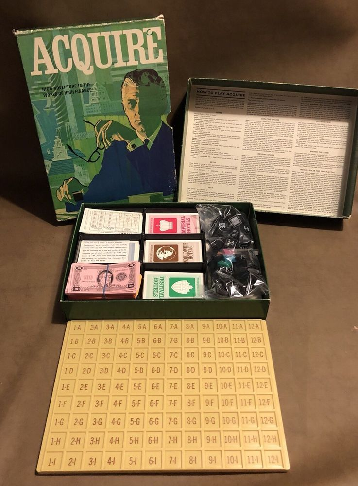 ACQUIRE Vintage COMPLETE Board Game 3M 1962 In Bookshelf Case