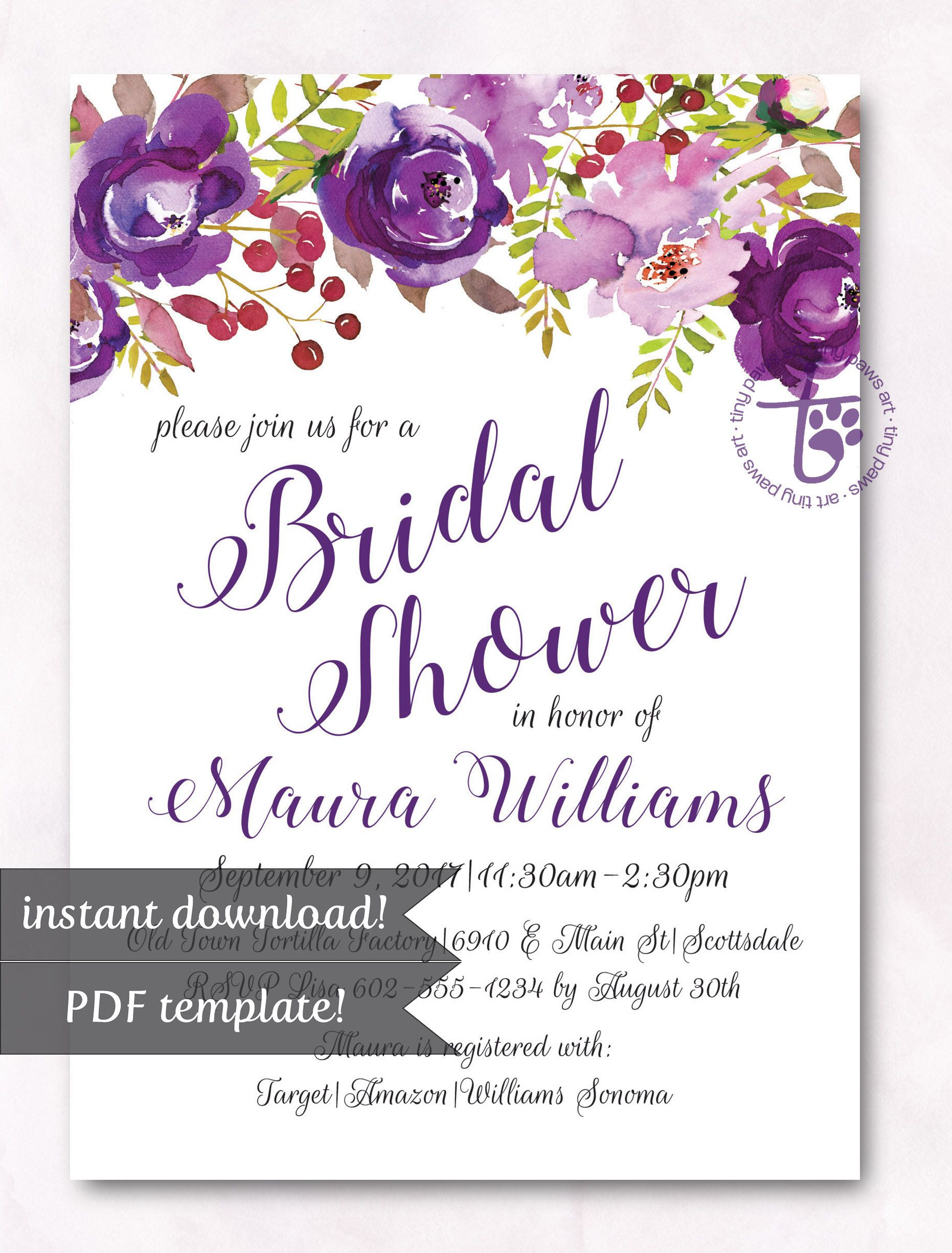 bridal shower invitation instant download bridal shower purple bridal shower invitation floral bridal shower diy invite printable by tinypawsart on