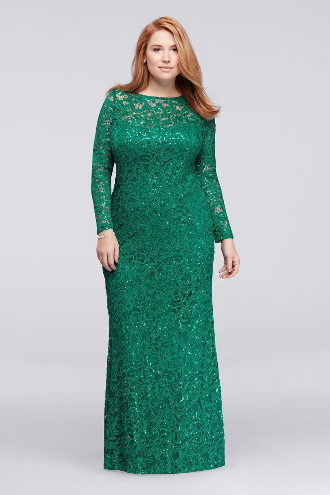 b5c130e6a6 Long Lace Plus Size Mother of Bride Groom Dress with Long Sleeves - Emerald  (Green)