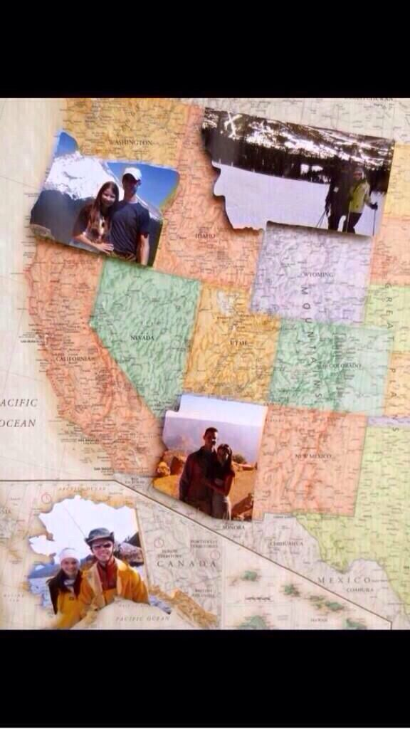 Take pictures in states traveled to and put them on a map