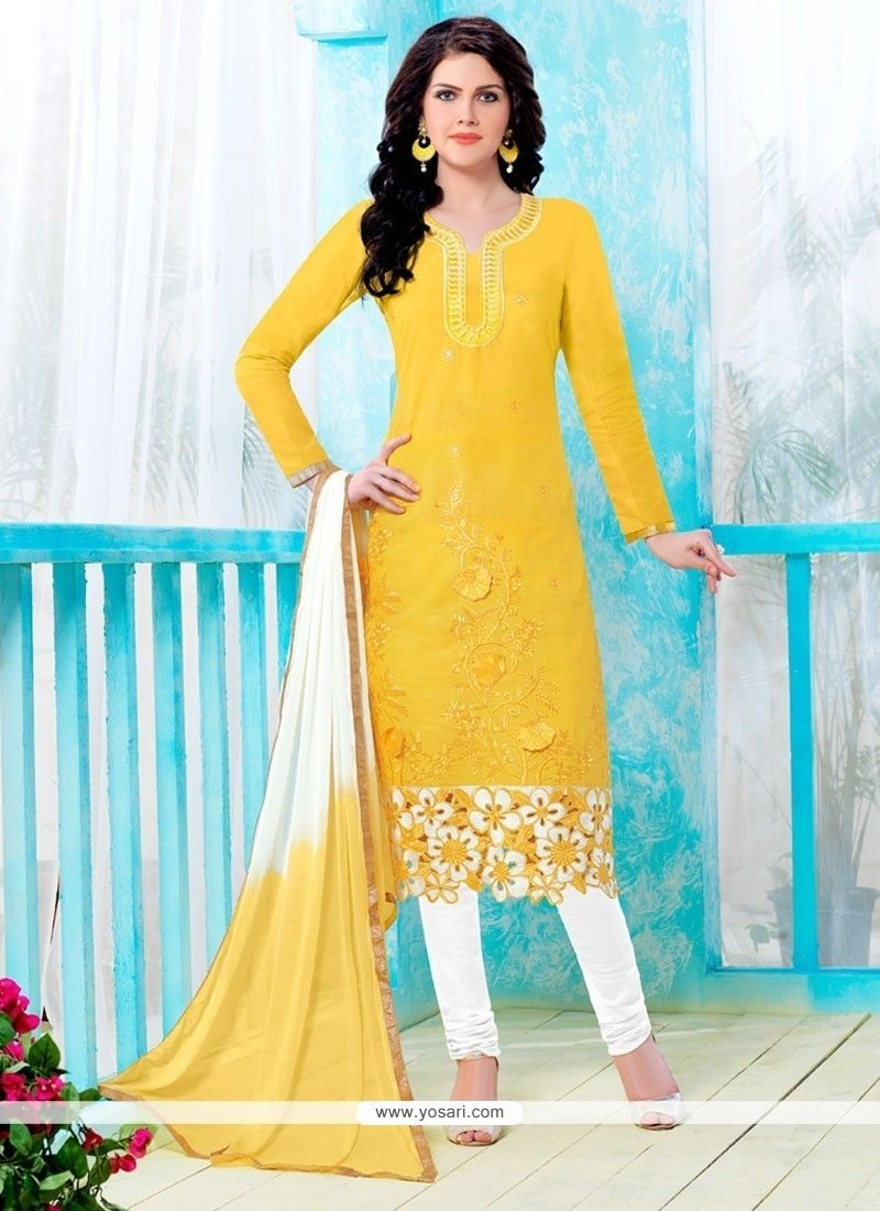2560ad24e5 Indian Ethnic Wear Online Store. Chanderi Cotton Yellow and White Salwar  Suit ...