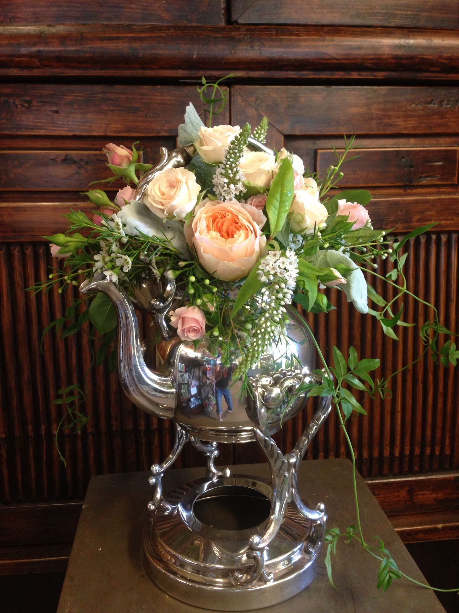 Peach flowers in silver vase, Design by Artist Angela