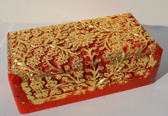 Medium Painted Carved and Gold Gilded Jewelry Wooden Box by Herina