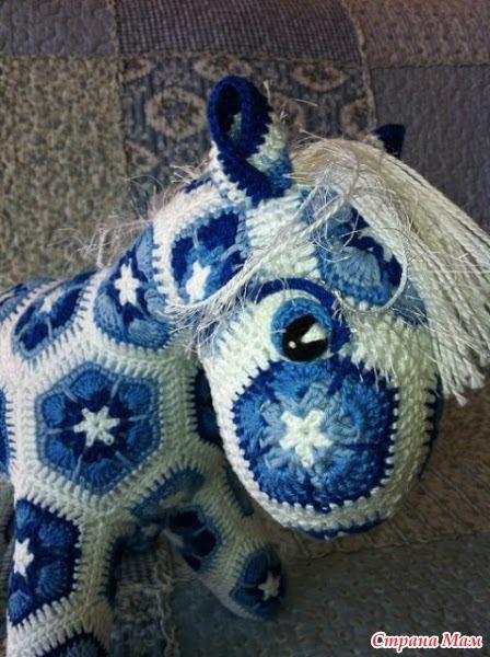 crochet little pony of african flower hexagon | make handmade ...