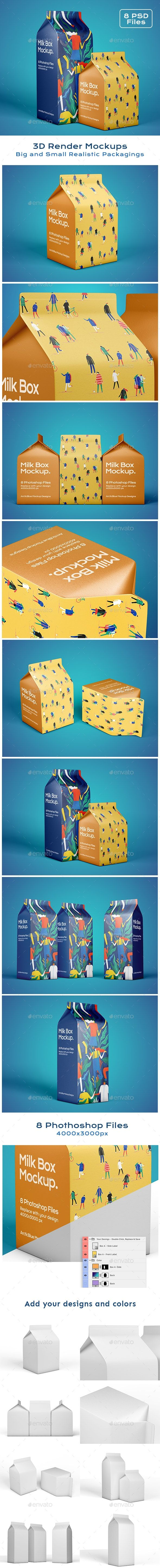 Download Milk Box Mockup Box Mockup Milk Box Printing Labels