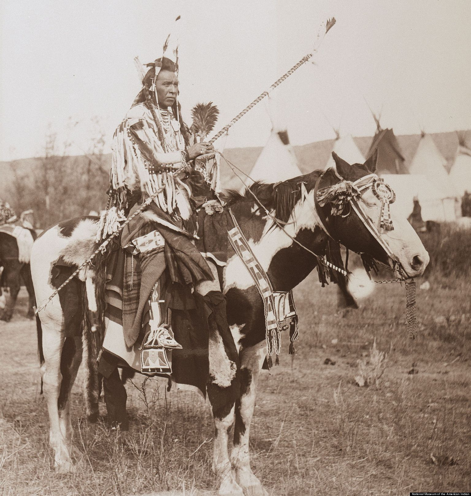 """1911 CHIEF NATIVE AMERICAN INDIAN 16/""""x11/"""" Horses Southwestern photo"""