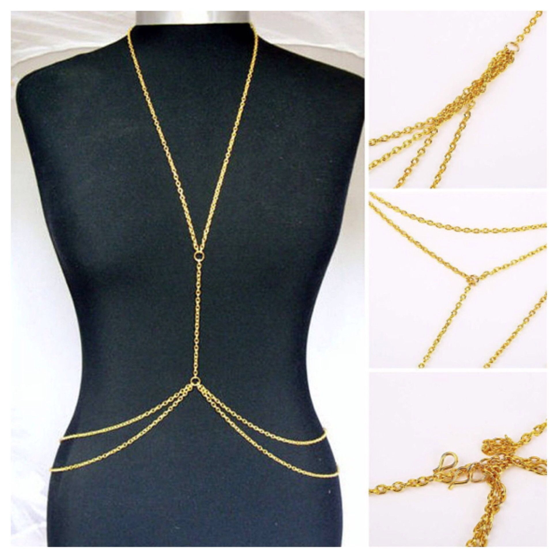 Double Layer Body Chain Color  Gold Material  Alloy Package  1x Double  Layer Body Chain 86e93486ee8