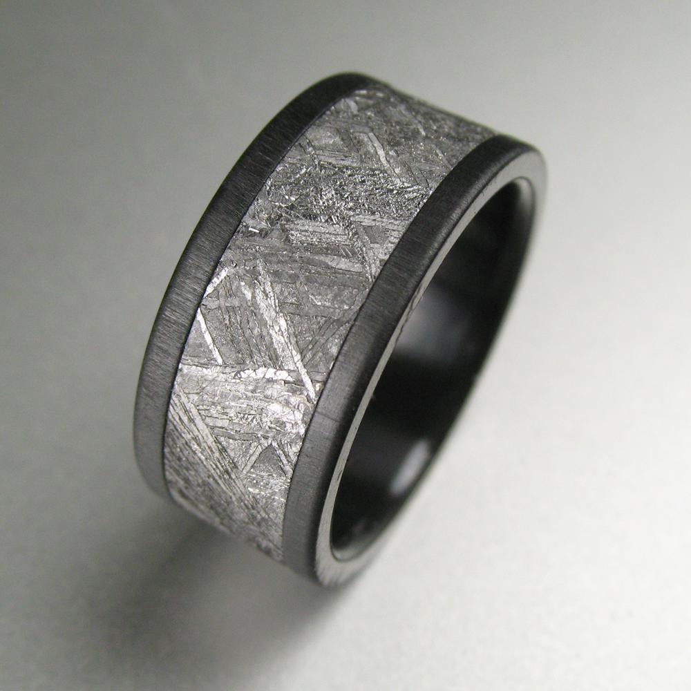 black zirconium meteorite distressed wedding band i think jake would like this - Meteorite Wedding Rings