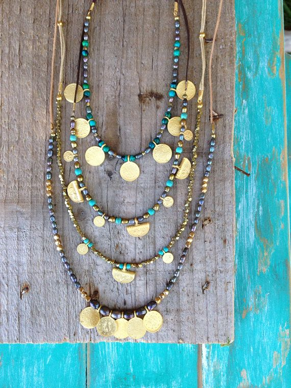 Coin pearl necklace boho leather turquoise by FeatherTalesDesigns #africanbeauty