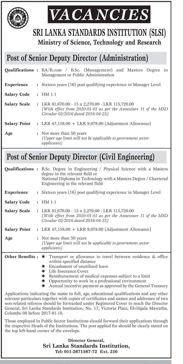 Sri Lankan Government Job Vacancies at Sri Lanka Standards - senior director job description