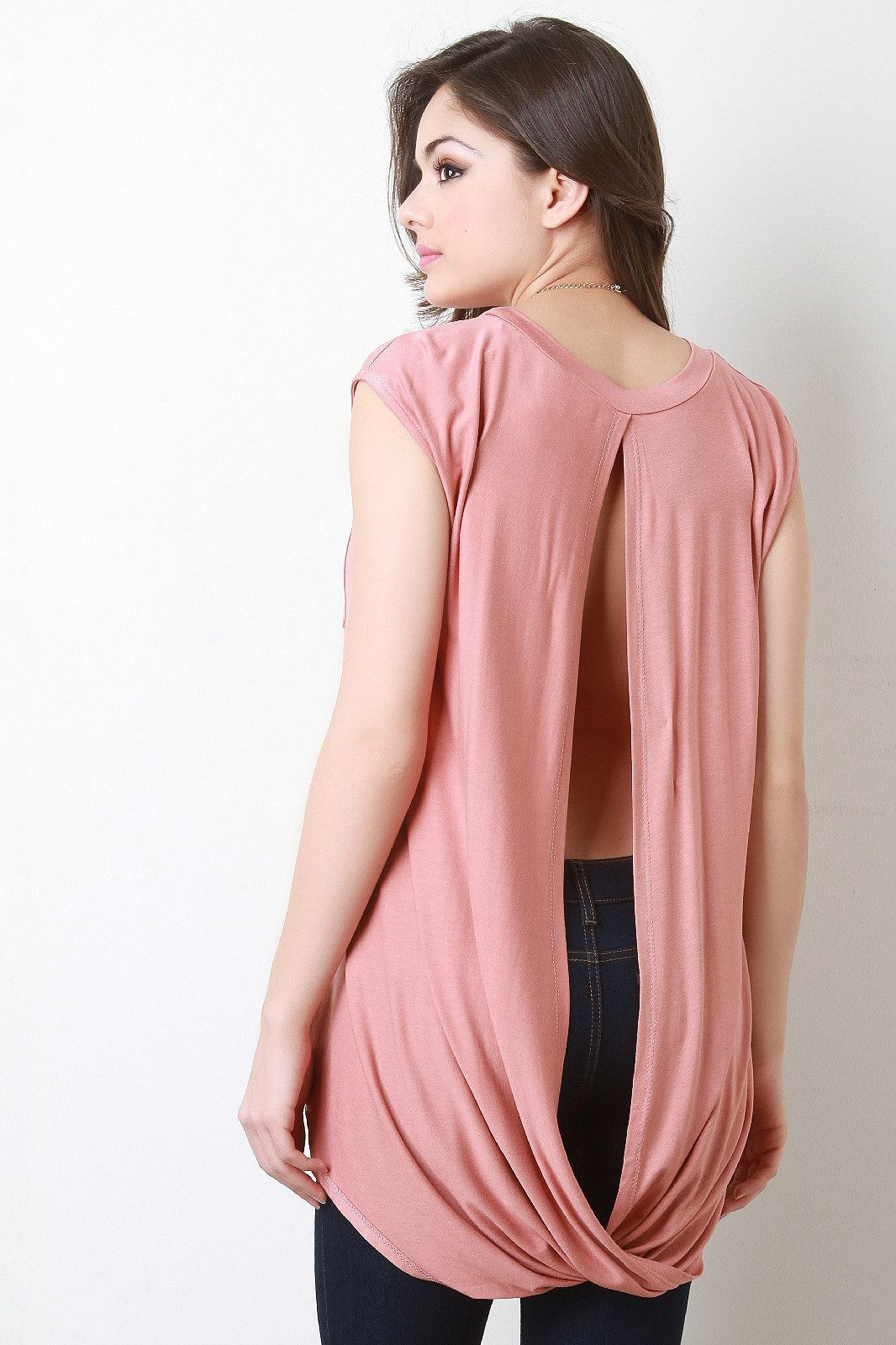 Jersey Knit High Low Open Back Top | Products | Pinterest