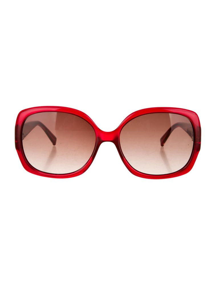 0c190686ccb Red Fendi translucent wide frame sunglasses with silver-tone Zucca motif at  arms and brown tinted lenses. Includes original case.