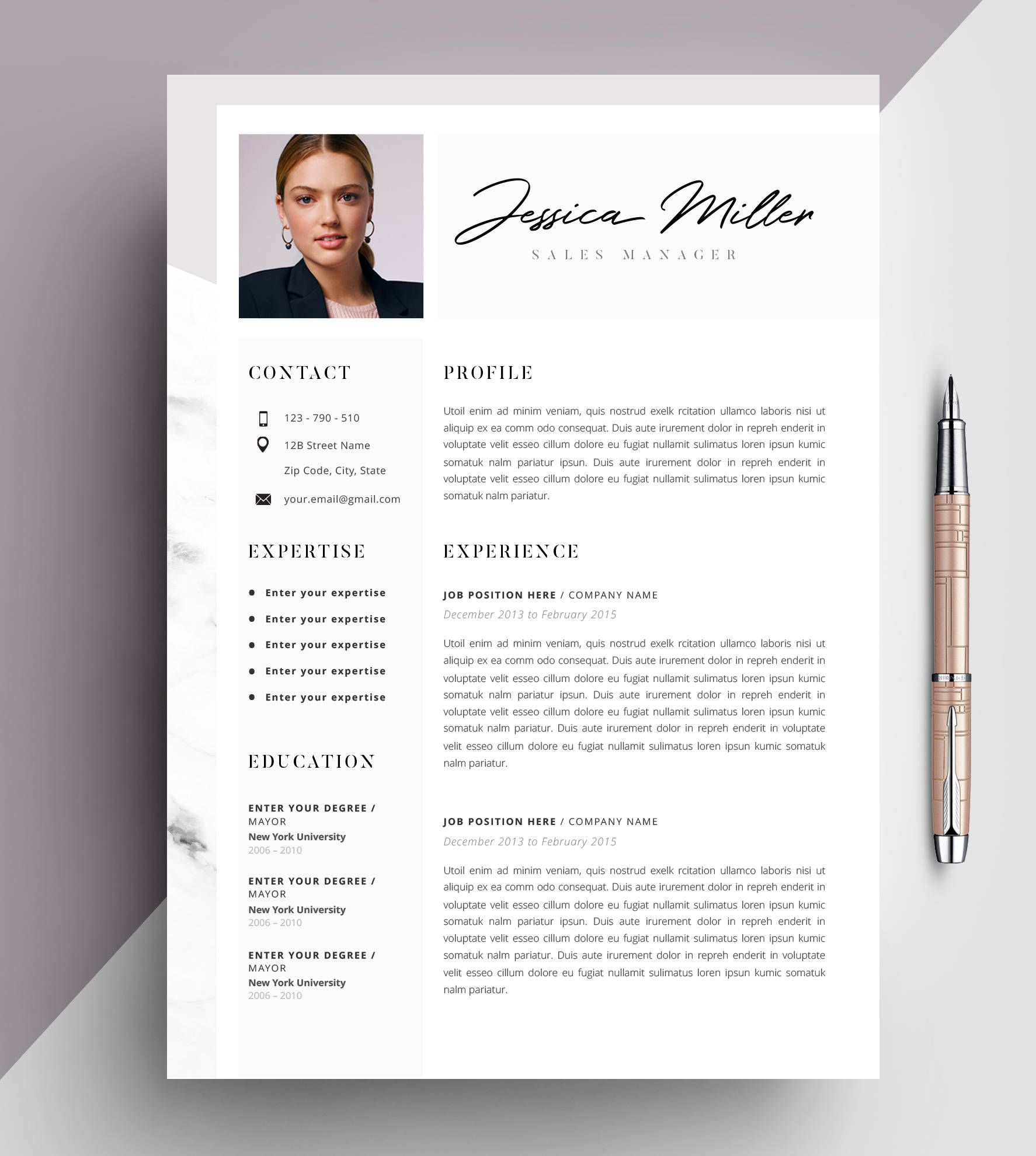 Professional Resume Template, CV Template Editable in MS