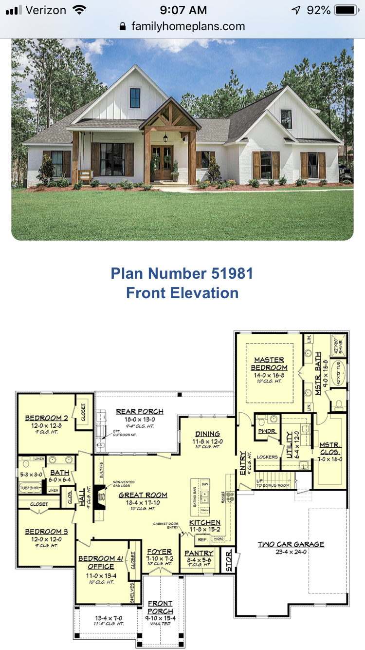 Love The Outside Look And Much Of The Floorplan Has What We Want Dream House Plans House Plans House Plans Farmhouse