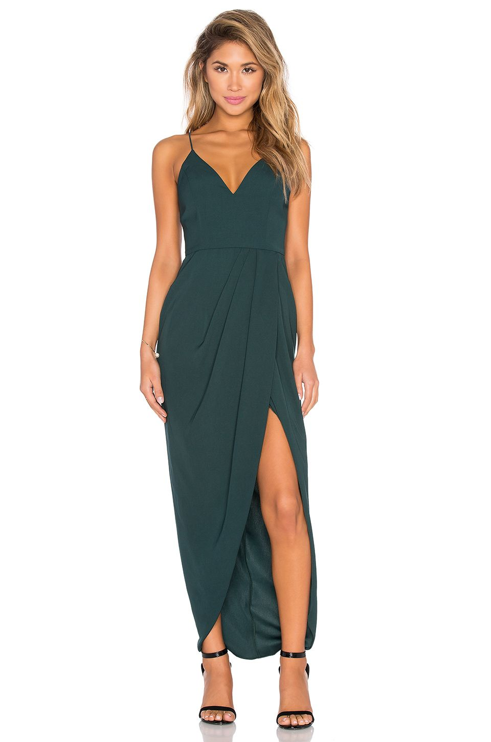 Shona Joy Stellar Drape Maxi Dress In Seaweed Hair Styles Wedding Guestcasual