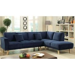 Furniture of America Contemporary Living Room Sectional Sofa Chaise Navy Flannelette Fabric Couch Mid-Century Tapered Legs Sectionals Plush Cushions