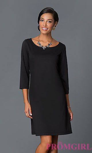 Short Black Shift Dress with Sleeves by Tiana B at PromGirl.com ... c7757cc88290