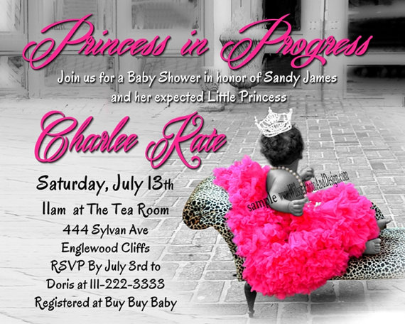 Princess TUTU And Leopard Baby Shower Invitation DigiTal File  For African  American GIRL   Scrool