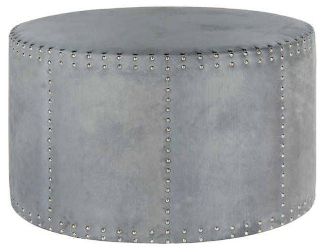 Wondrous Karin Round Nailhead Ottoman Steel Blue Erin Project Gmtry Best Dining Table And Chair Ideas Images Gmtryco
