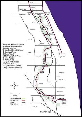 Bike path to Chicago Botanic Garden   Places   Chicago botanic ... Chicago Bike Map on