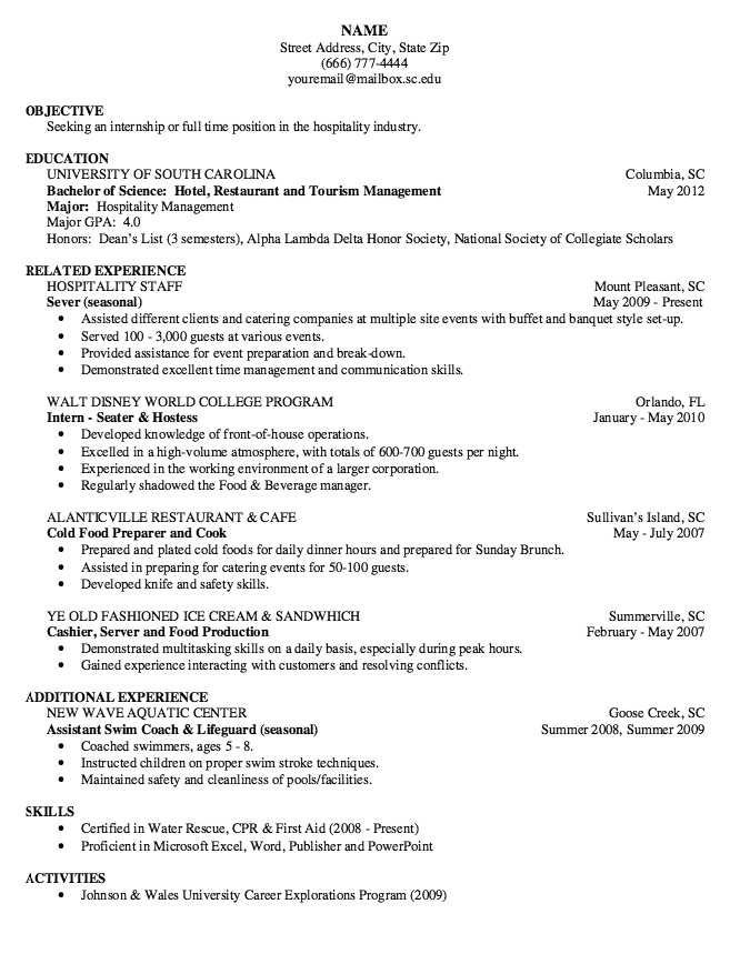 Example Of Seater & Hostess Resume http