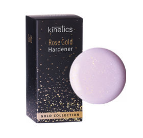 Rose Gold Hardener  For all nail types. Premium nail hardener in a subtle translucent pink color with a golden shimmer. Enriched with pure gold particles, it reinforces the nail plate, stop brittleness and provides nails with a smooth and pearly finish.  #Kinetics #NailCare #GoldCollection