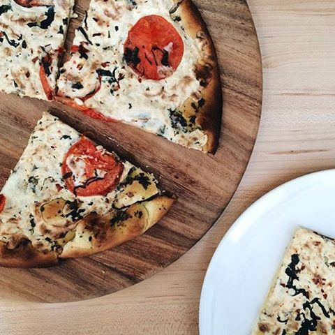 """You'll feel like your pizza came straight from Italy with our thin crispy crust topped with fresh tomatoes, basil and our signature vegan cheez. (9"""" diameter).  All Natural Non-GMO 100% Plant Based Preservative-free Dairy-free No Cholesterol Good Source of Fiber"""