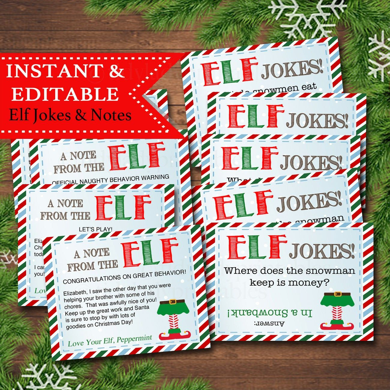 EDITABLE Elf Jokes and Notes from the Elf, Elf Letters