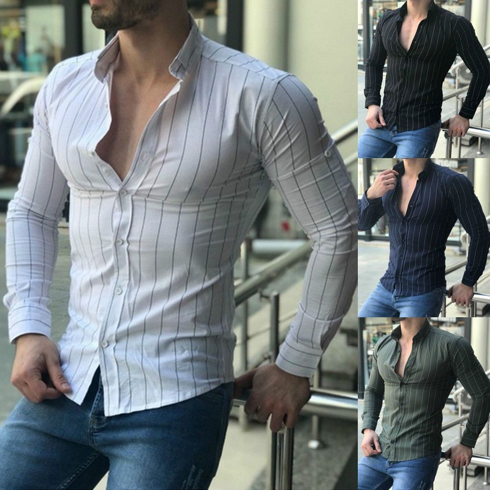 Men/'s Button Down Slim Fit Long Sleeve Dress Shirt Casual Muscle Shirts Tops New