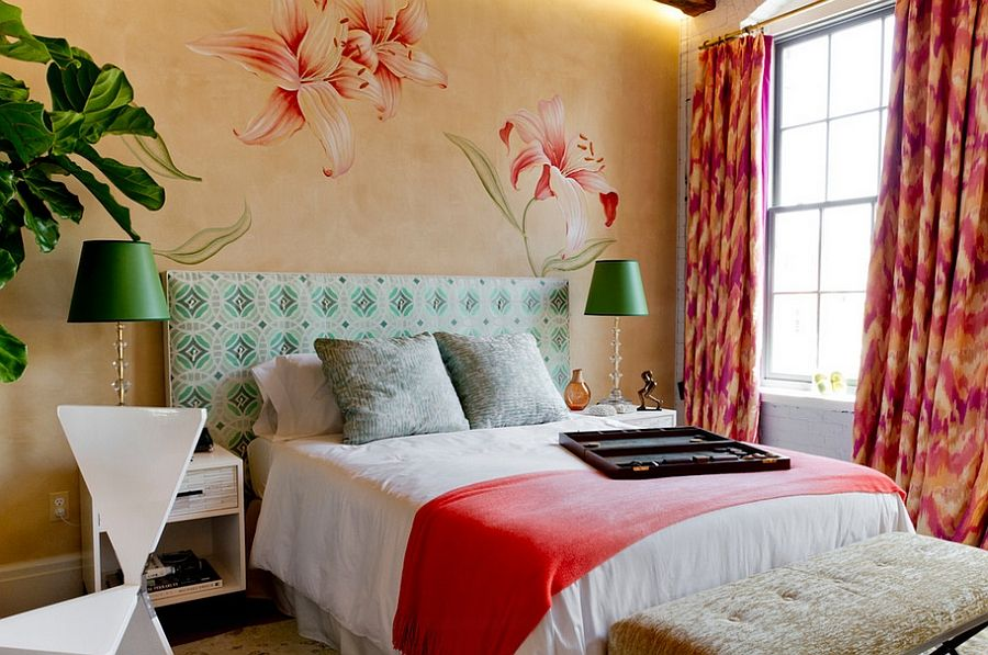Bright Colors And Natural Greenery Enliven This Trendy Bedroom