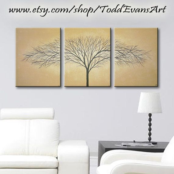 36x16 Inches Tree Art Set Of 3 Canvas Paintings Trees Golden Brown
