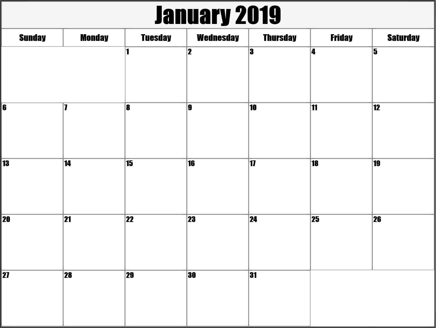 Calendar January 2019 Printable Large Calendar January 2019