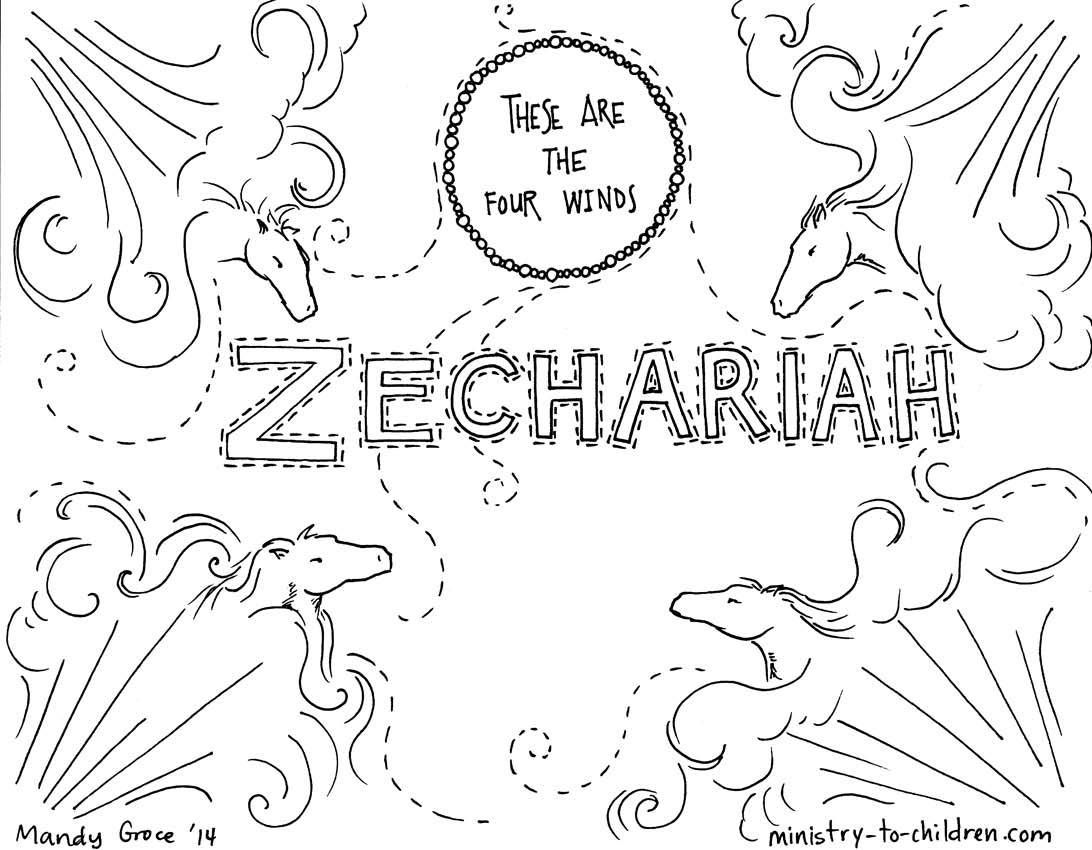 This free coloring page is based on the book of Zechariah