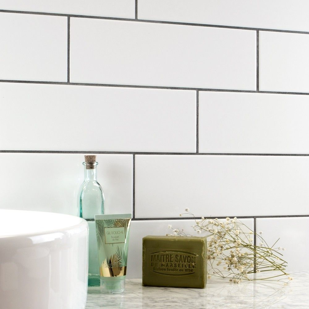 White Gloss Linear 30x10cm Tiles at £16.95 per sqm. Lower section ...