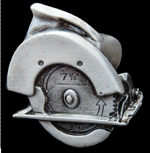 Carpenter Hammer Saw Drill Western Belt Buckle Construction