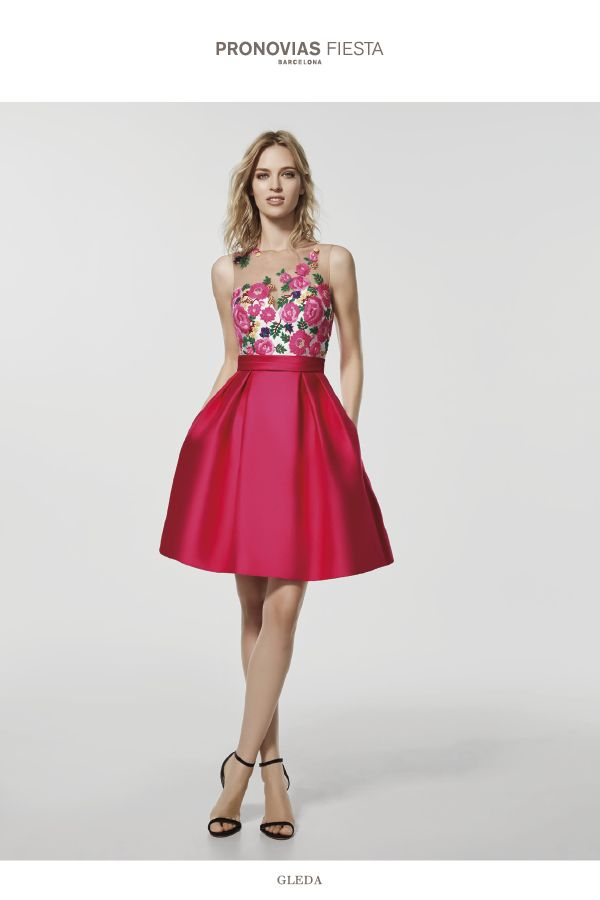 Pink cocktail dress - Short dress GLEDA - sleeveless