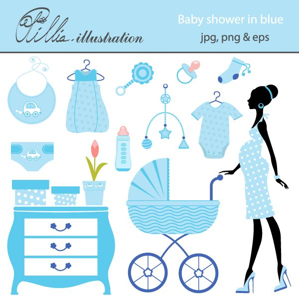 This Baby Shower In Blue Set Comes With 14 Cliparts Featuring Chic Mom To Be